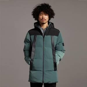 Black Eagle Wadded Fabric Mix Coat - Deep Green