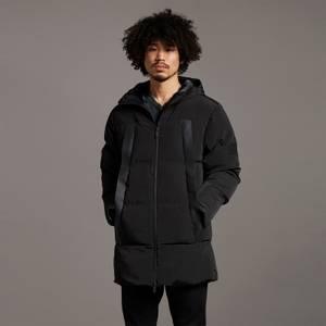 Black Eagle Wadded Fabric Mix Coat - Jet Black