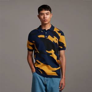 Archive Abstract Jacquard Polo - Navy
