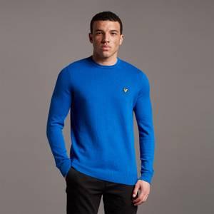 Cotton Merino Crew Jumper - Bright Blue