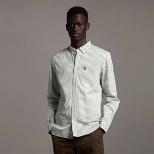 LS Slim Fit Gingham Shirt - Fern Green/ White
