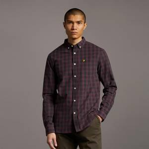 Check Poplin Shirt - Jet Black/ Burgundy