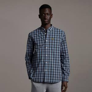 Check Poplin Shirt - Slate Blue/ Dark Navy