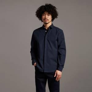 Black Eagle Rib Collar Poplin Shirt - Dark Navy
