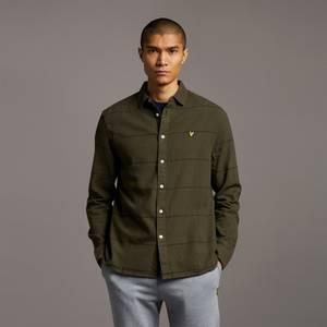 Cotton Linen Stripe Shirt - Olive