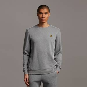Crew Neck with Contrast Piping - Mid Grey Marl