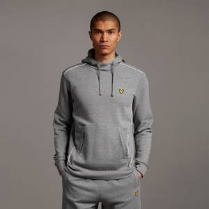 Hoodie with Contrast Piping - Mid Grey Marl