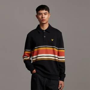 Archive Collared Stripe Panel Sweatshirt - True Black