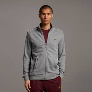 Track Jacket with Contrast Piping - Mid Grey Marl