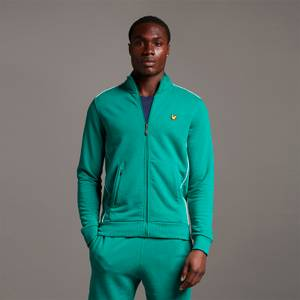 Track Jacket with Contrast Piping - Pine Green