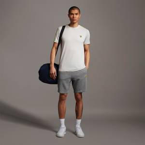 Sweat Short With Contrast Piping - Mid Grey Marl