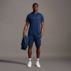 Sweat Short With Contrast Piping - Navy