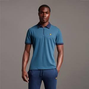Sports Zipped Polo - Aegean Blue