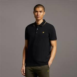 Tipped Polo Shirt - Jet Black/ Tan
