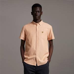 Short Sleeve Light Weight Slub Oxford Shirt - Sunflower/ White