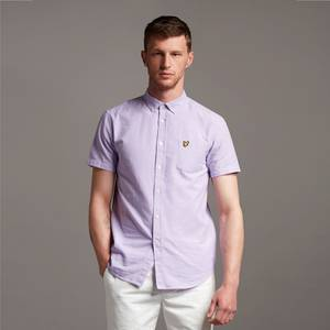 Short Sleeve Light Weight Slub Oxford Shirt - Amethyst/ White