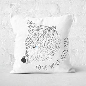Lone Wolf Seeks Pals Square Cushion