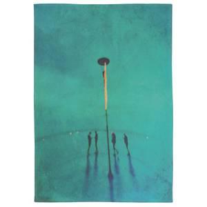 Turquoise Poem Cotton Tea Towel - White