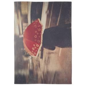 Red Umbrella Cotton Tea Towel - White