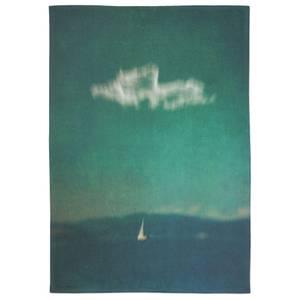 Blue Voyage Cotton Tea Towel - White