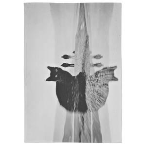 Black Beauty Cotton Tea Towel - White