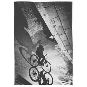 Cyclist On The Puddle Cotton Tea Towel - White
