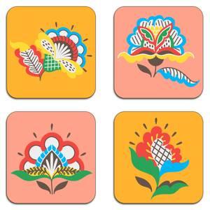 Demotic Flowers Coaster Set