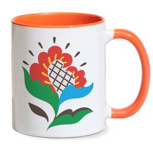 Primitive Flower Mug - Orange