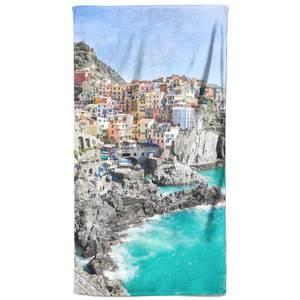 Emerald Sea Town Beach Towel