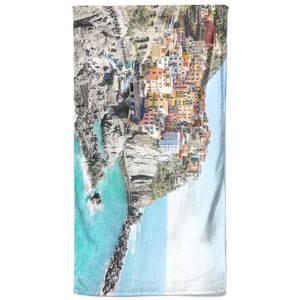 Colourful Coastal Town Beach Towel