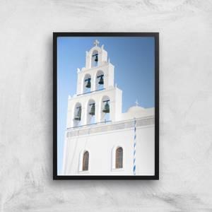 Santorini Bell Tower Giclee Art Print