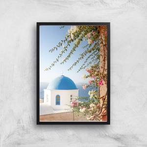 Santorini Flowers Giclee Art Print