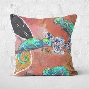 Snowtap Neon Gouache Chameleons Square Cushion