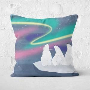 Snowtap An Aurora Of Polar Bears Square Cushion