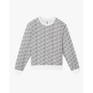 Cartoon Print Crew Neck Sweatshirt - White/Black