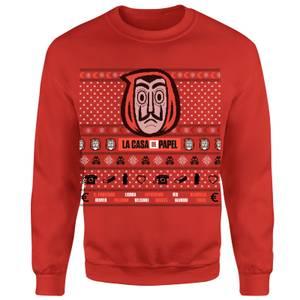 Money Heist Dali Mask Unisex Christmas Sweatshirt - Red