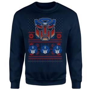 Transformers Christmas Autobots Classic Ugly Knit Unisex Sweatshirt - Navy