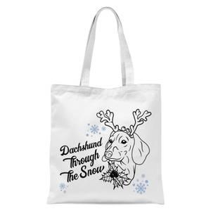 Dachshund Through The Snow Tote Bag - White