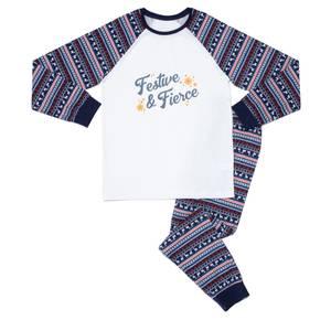 Festive & Fierce Men's Pyjama Set - Blue White Pattern