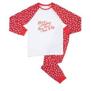 Festive Merry Christmas Now Don't Fuck It Up Men's Pyjama Set - Red White Pattern
