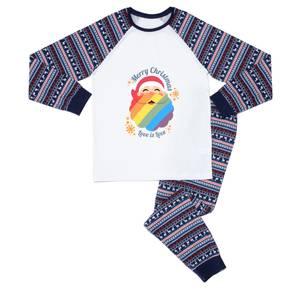 Christmas Love Pride Men's Pyjama Set - Blue White Pattern