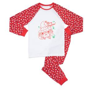 Festive Merry Pugmas Unisex Pyjama Set - Red White Pattern