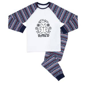 Bold Let's Get Baked Men's Pyjama Set - Blue White Pattern