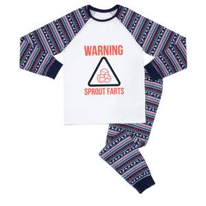 Christmas Warning Men's Pyjama Set - Blue White Pattern