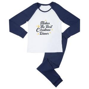 Makes The Best Christmas Dinner Unisex Pyjama Set - Navy White