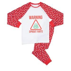 Warning Sprout Farts Unisex Pyjama Set - Red White Pattern