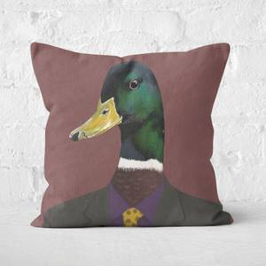 Duck In Suit Square Cushion