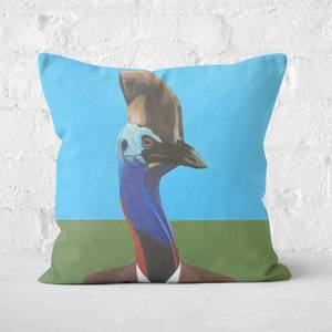Cassowary In Suit Square Cushion