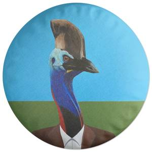 Cassowary In Suit Round Cushion