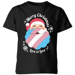 LGBTQ+ Trans Positive Christmas Kids' T-Shirt - Black